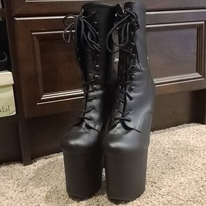 Black really high heeled boots!